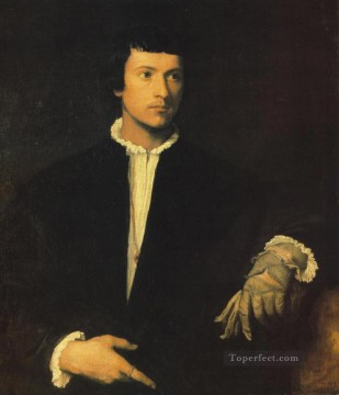 Titian Oil Painting - Man with Gloves Tiziano Titian