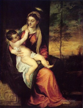Titian Painting - Mary with the Christ Child Tiziano Titian