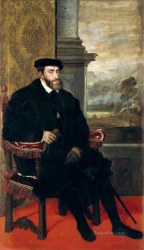 Portrait of Charles V Seated Tiziano Titian Oil Paintings