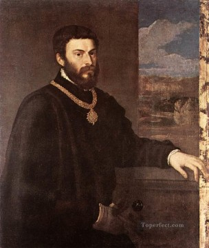 Titian Oil Painting - Portrait of Count Antonio Porcia Tiziano Titian