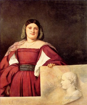 Portrait of a Woman calledLa Schiavona Tiziano Titian Oil Paintings