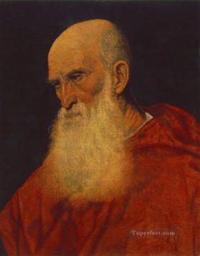 Titian Oil Painting - Portrait of an Old Man Pietro Cardinal Bembo Tiziano Titian