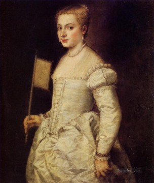 Titian Painting - Woman in white 1555 Tiziano Titian