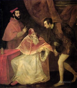 Titian Oil Painting - Pope Paul III and nephews 1543 Tiziano Titian