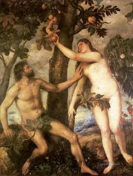 Titian Painting - The fall of man 1565 nude Tiziano Titian