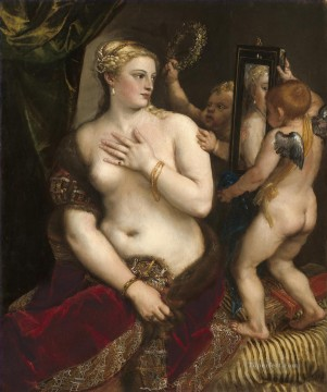Titian Oil Painting - Venus in front of the mirror 1553 nude Tiziano Titian