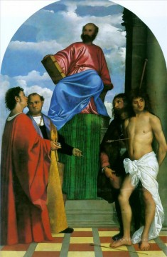Titian Painting - Saint Mark Enthroned Tiziano Titian