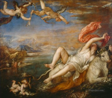 Titian Painting - The Rape of Europa Titian