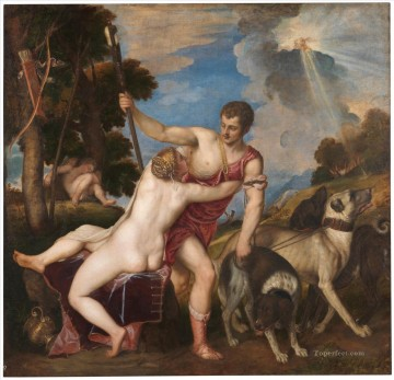 1553 Works - Venus and Adonis 1553 nude Tiziano Titian