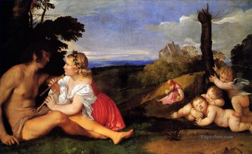 Titian Painting - The Three Ages of Man 1511 Tiziano Titian