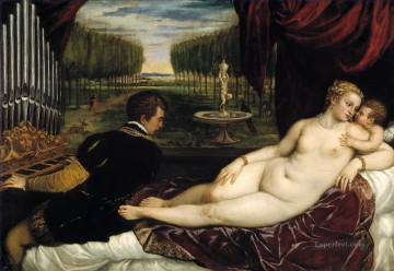Titian Painting - Venus with Organist and Cupid nude Tiziano Titian