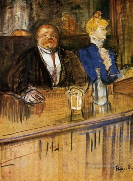 post impressionist Painting - At the Cafe The Customer and the Anemic Cashier post impressionist Henri de Toulouse Lautrec