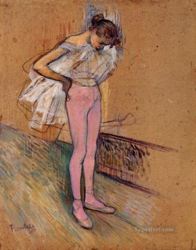 Impressionist Works - Dancer Adjusting Her Tights post impressionist Henri de Toulouse Lautrec