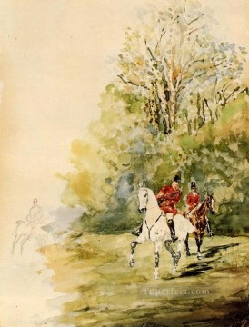 hunting Canvas - Hunting post impressionist Henri de Toulouse Lautrec