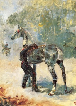 artilleryman saddling his horse 1879 Toulouse Lautrec Henri de Decor Art