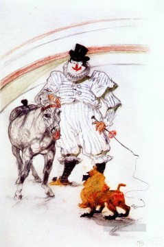 horse canvas - at the circus horse and monkey dressage 1899 Toulouse Lautrec Henri de