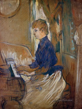 Henri de Toulouse Lautrec Painting - at the piano madame juliette pascal in the salon of the chateau de malrome 1896 Toulouse Lautrec Henri de