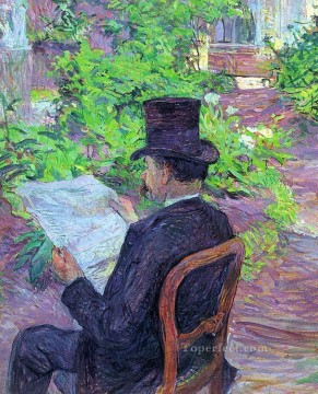 Henri de Toulouse Lautrec Painting - desire dehau reading a newspaper in the garden 1890 Toulouse Lautrec Henri de