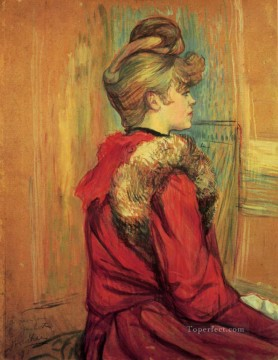 Made Oil Painting - girl in a fur mademoiselle jeanne fontaine 1891 Toulouse Lautrec Henri de
