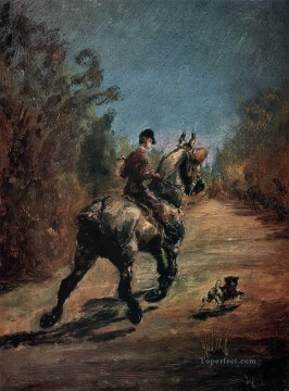 Henri de Toulouse Lautrec Painting - horse and rider with a little dog 1879 Toulouse Lautrec Henri de