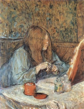 Henri de Toulouse Lautrec Painting - madame poupoule at her dressing table 1898 Toulouse Lautrec Henri de