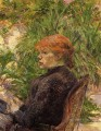 red haired woman seated in the garden of m forest 1889 Toulouse Lautrec Henri de