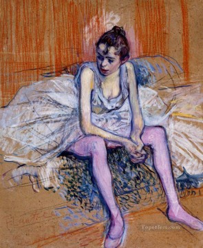 Henri de Toulouse Lautrec Painting - seated dancer in pink tights 1890 Toulouse Lautrec Henri de