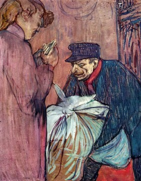 Henri de Toulouse Lautrec Painting - the laundryman calling at the brothal 1894 Toulouse Lautrec Henri de