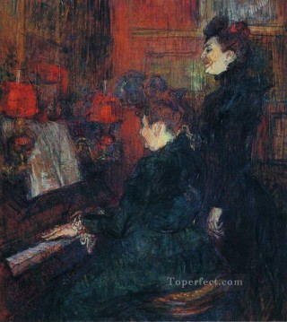 Henri de Toulouse Lautrec Painting - the singing lesson the teacher mlle dihau with mme faveraud 1898 Toulouse Lautrec Henri de