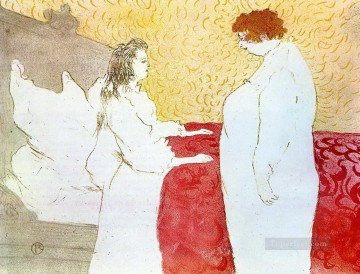 Henri de Toulouse Lautrec Painting - they woman in bed profile getting up 1896 Toulouse Lautrec Henri de