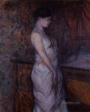 woman in a chemise standing by a bed madame poupoule 1899 Toulouse Lautrec Henri de Oil Paintings