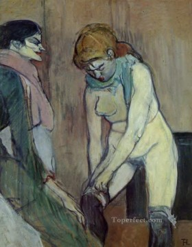 Henri de Toulouse Lautrec Painting - woman pulling up her stockings 1894 Toulouse Lautrec Henri de
