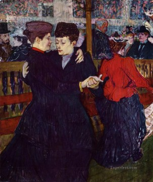 Henri de Toulouse Lautrec Painting - At the Moulin Rouge the Two Waltzers post impressionist Henri de Toulouse Lautrec