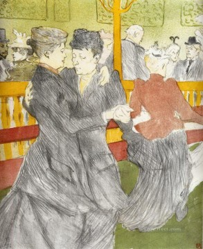 Henri de Toulouse Lautrec Painting - dancing at the moulin rouge 1897 Toulouse Lautrec Henri de