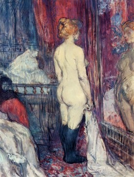 Mirror Painting - nude standing before a mirror 1897 Toulouse Lautrec Henri de