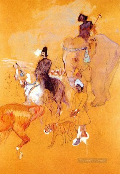 1895 Oil Painting - the procession of the raja 1895 Toulouse Lautrec Henri de