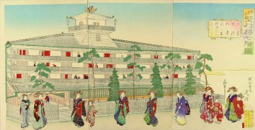 The seven story building of Katamura ro in the Yoshiwara Toyohara Chikanobu Oil Paintings