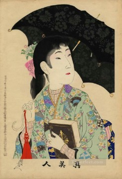 A woman holding a Western style umbrella and a Western style book Toyohara Chikanobu Oil Paintings