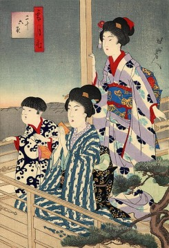 Chikanobu Art Painting - viewing from a balcony Toyohara Chikanobu bijin okubi e