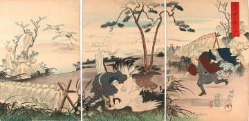 visit at the crane hunt 1898 Toyohara Chikanobu bijin okubi e Oil Paintings