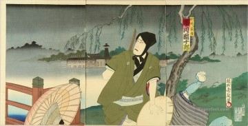 A scene from the kabuki stage Toyohara Chikanobu Oil Paintings