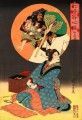A woman is dreaming of being at the Kabuki watching Toyohara Chikanobu