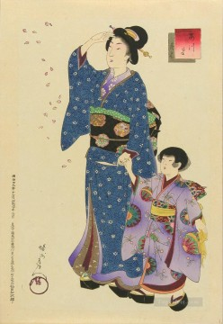 Fashions of the East Azuma a woman and a child watching the cherry blossoms fall Toyohara Chikanobu Oil Paintings