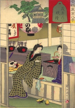 Two geishas relaxing after having entertained Toyohara Chikanobu Oil Paintings