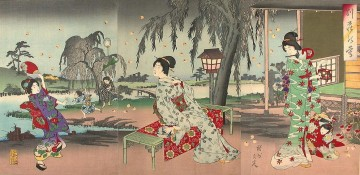 fireflies at a country house Toyohara Chikanobu bijin okubi e Oil Paintings