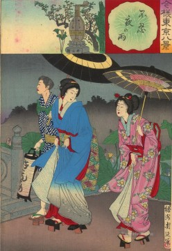 women Painting - Two women walking with escort Toyohara Chikanobu