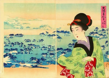 Chikanobu Art Painting - A bijin compared to the beauty of the pine covered islands at Matsushima in Rikuzen Province Toyohara Chikanobu