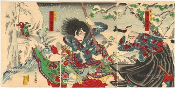 A fight between Rochishin and Kyumonryo in a play on the kabuki stage Toyohara Chikanobu Oil Paintings