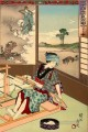Nijushi ko mitate e awase depicts a woman weaving Toyohara Chikanobu