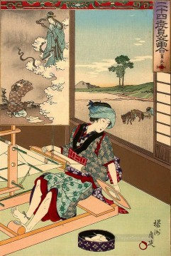Chikanobu Art Painting - Nijushi ko mitate e awase depicts a woman weaving Toyohara Chikanobu